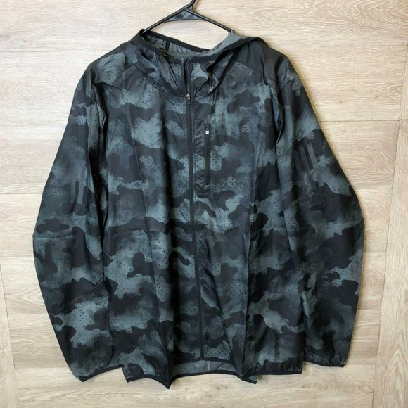 Adidas Mens Large Gray/Black Camouflage Jacket NEW